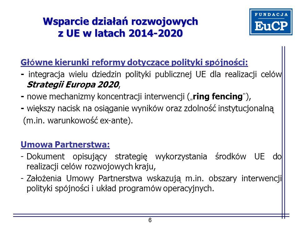 """6 Wsparcie działań rozwojowych z UE w latach 2014-2020 Gł ó wne kierunki reformy dotyczące polityki sp ó jności: - integracja wielu dziedzin polityki publicznej UE dla realizacji cel ó w Strategii Europa 2020, - nowe mechanizmy koncentracji interwencji ( """" ring fencing ), - większy nacisk na osiąganie wynik ó w oraz zdolność instytucjonalną (m.in."""