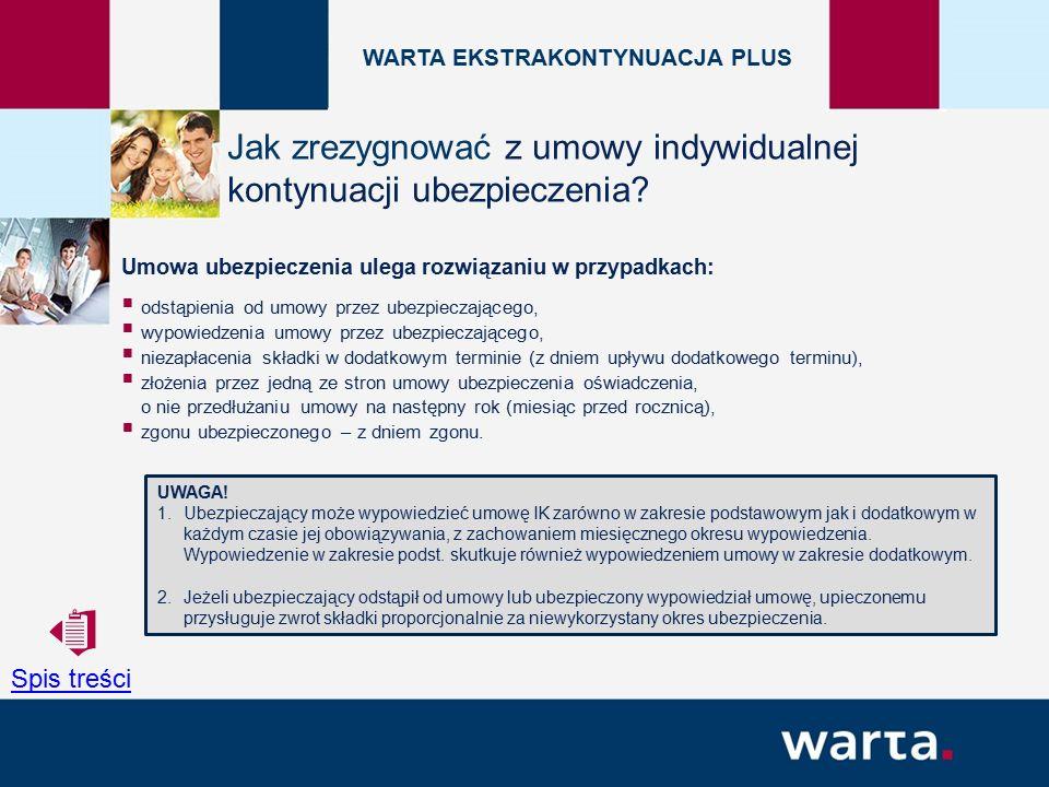Umowa ubezpieczenia ulega rozwiązaniu w przypadkach:  odstąpienia od umowy przez ubezpieczającego,  wypowiedzenia umowy przez ubezpieczającego,  niezapłacenia składki w dodatkowym terminie (z dniem upływu dodatkowego terminu),  złożenia przez jedną ze stron umowy ubezpieczenia oświadczenia, o nie przedłużaniu umowy na następny rok (miesiąc przed rocznicą),  zgonu ubezpieczonego – z dniem zgonu.