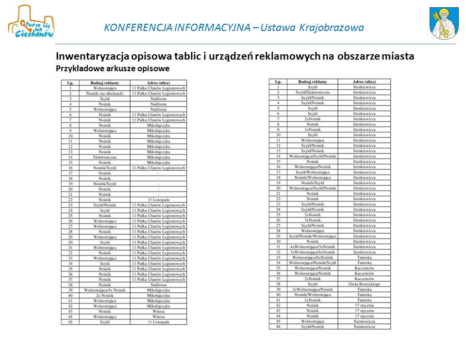 Inwentaryzacja opisowa tablic i urządzeń reklamowych na obszarze miasta Przykładowe arkusze opisowe KONFERENCJA INFORMACYJNA – Ustawa Krajobrazowa