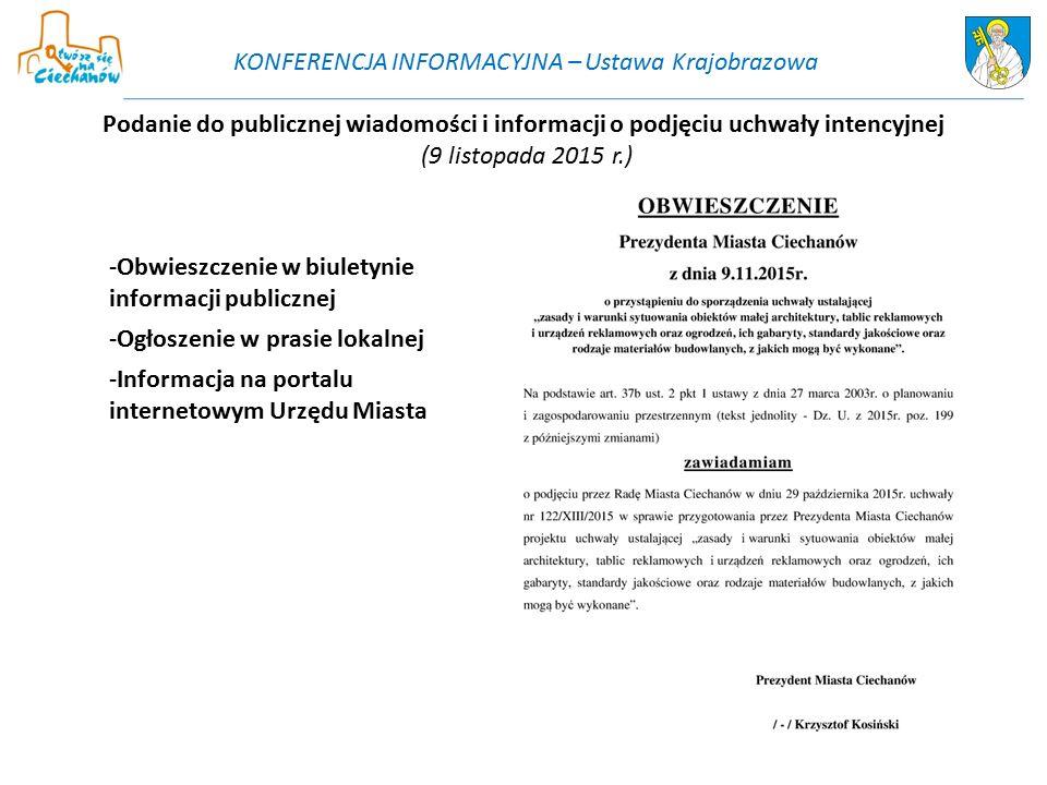 Podanie do publicznej wiadomości i informacji o podjęciu uchwały intencyjnej (9 listopada 2015 r.) -Obwieszczenie w biuletynie informacji publicznej -
