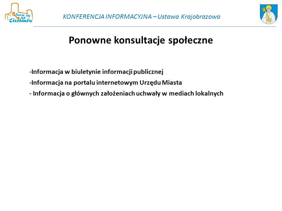 Ponowne konsultacje społeczne -Informacja w biuletynie informacji publicznej -Informacja na portalu internetowym Urzędu Miasta - Informacja o głównych założeniach uchwały w mediach lokalnych KONFERENCJA INFORMACYJNA – Ustawa Krajobrazowa