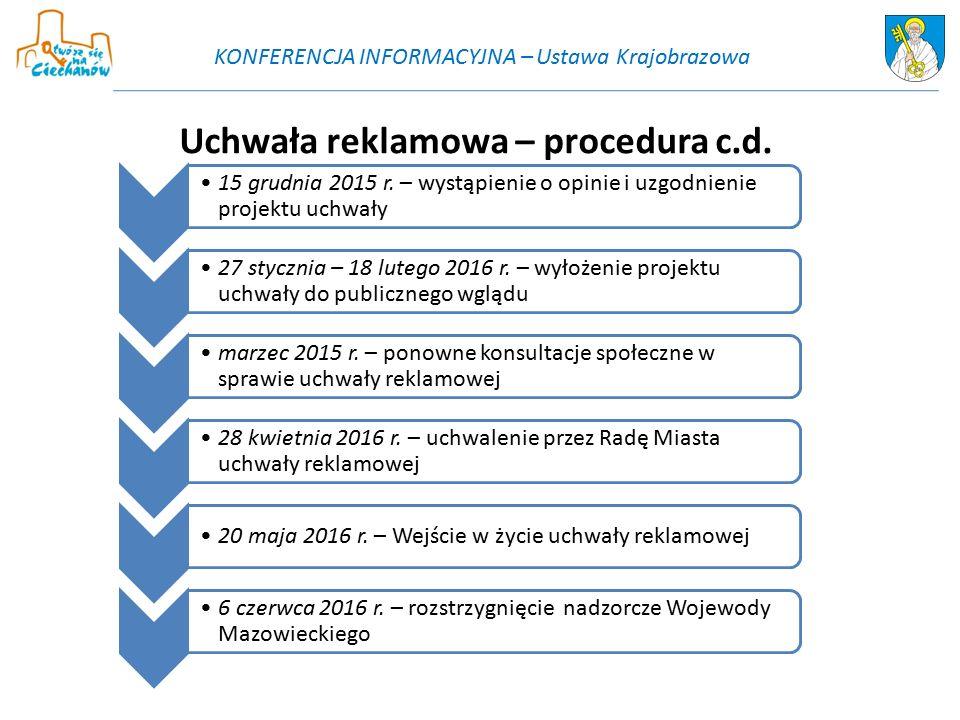 15 grudnia 2015 r. – wystąpienie o opinie i uzgodnienie projektu uchwały 27 stycznia – 18 lutego 2016 r. – wyłożenie projektu uchwały do publicznego w