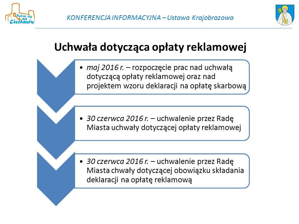 maj 2016 r. – rozpoczęcie prac nad uchwałą dotyczącą opłaty reklamowej oraz nad projektem wzoru deklaracji na opłatę skarbową 30 czerwca 2016 r. – uch