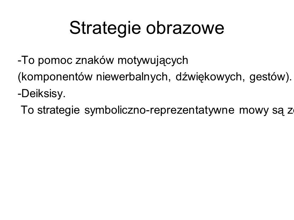 Strategie obrazowe -To pomoc znaków motywujących (komponentów niewerbalnych, dźwiękowych, gestów).