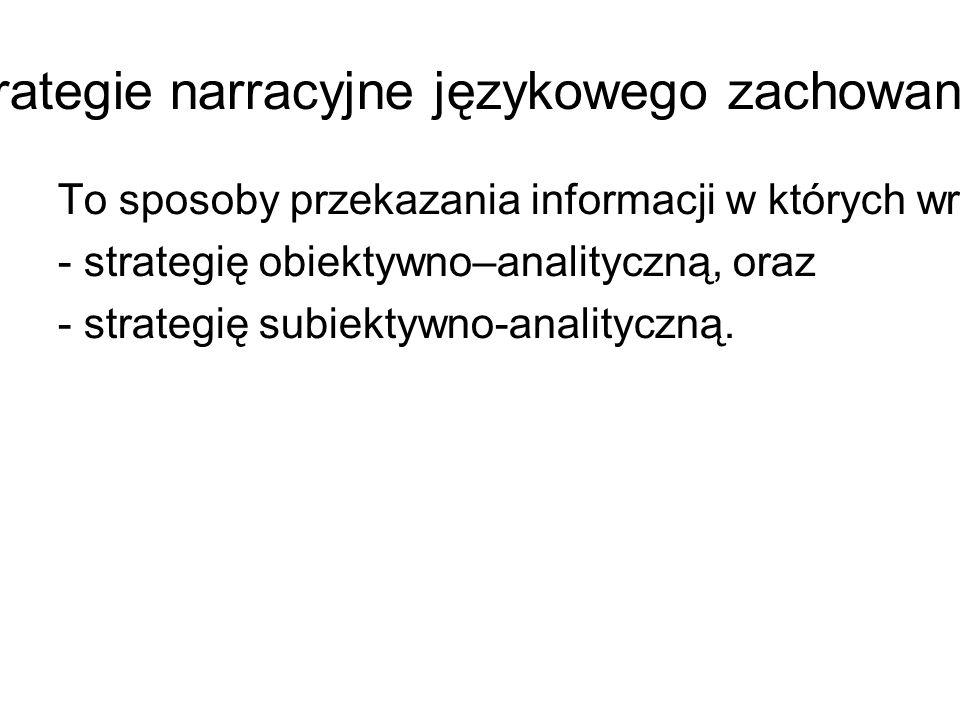 Strategie narracyjne językowego zachowania.