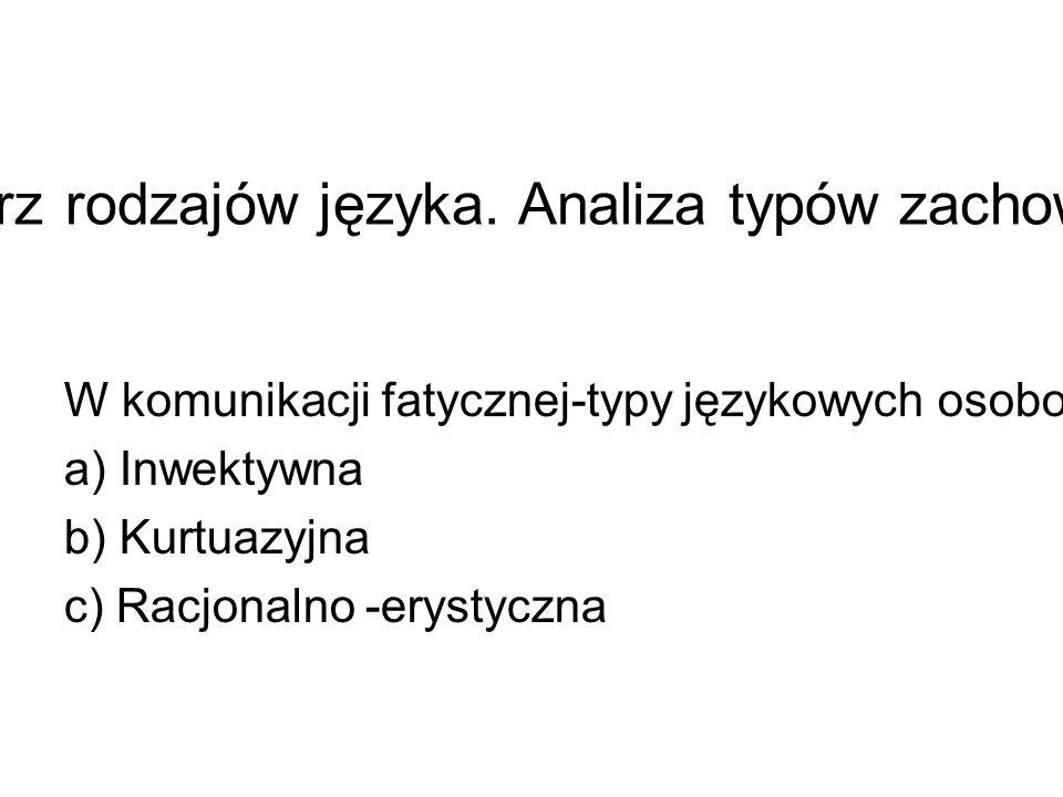Typologia językowych osobowości wewnątrz rodzajów języka.