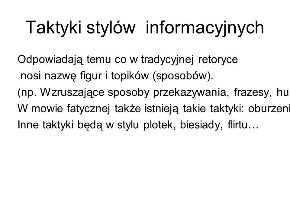 Taktyki stylów informacyjnych Odpowiadają temu co w tradycyjnej retoryce nosi nazwę figur i topików (sposobów).