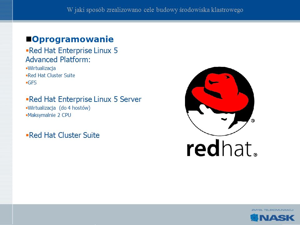 Oprogramowanie  Red Hat Enterprise Linux 5 Advanced Platform:  Wirtualizacja  Red Hat Cluster Suite  GFS  Red Hat Enterprise Linux 5 Server  Wir