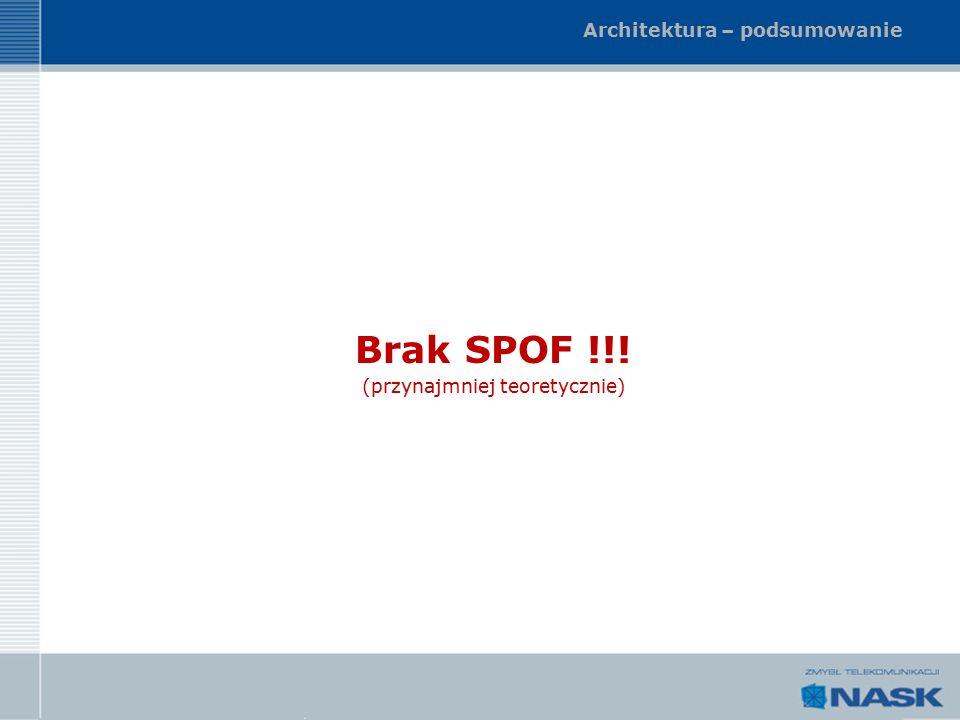 Architektura – podsumowanie Brak SPOF !!! (przynajmniej teoretycznie)