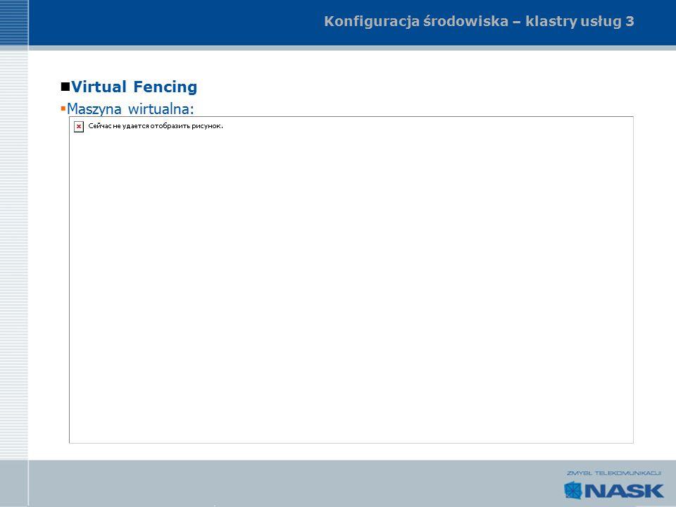 Konfiguracja środowiska – klastry usług 3 Virtual Fencing  Maszyna wirtualna: