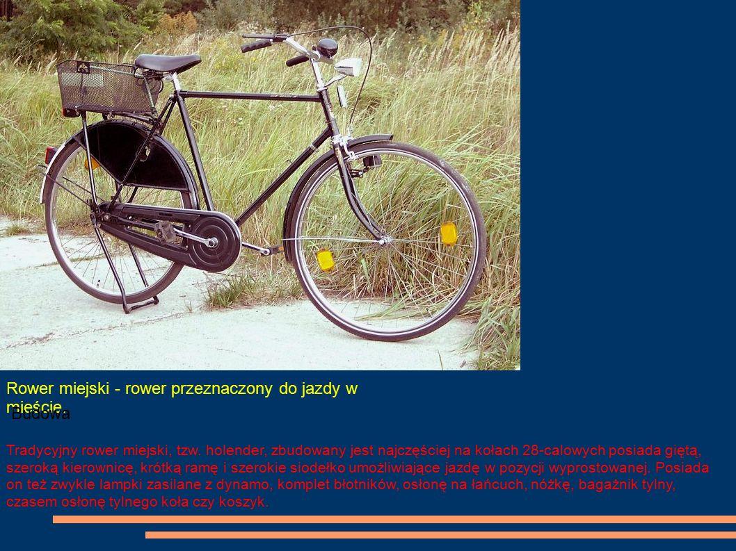 Rower miejski - rower przeznaczony do jazdy w mieście. Budowa Tradycyjny rower miejski, tzw. holender, zbudowany jest najczęściej na kołach 28-calowyc