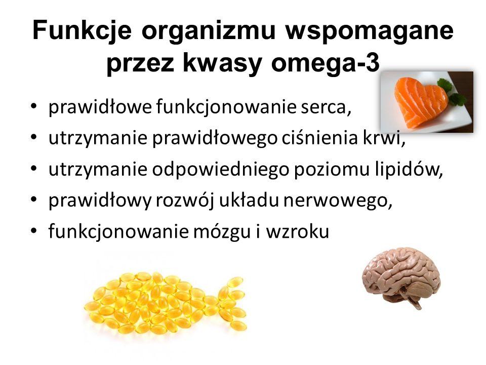 Funkcje organizmu wspomagane przez kwasy omega-3 prawidłowe funkcjonowanie serca, utrzymanie prawidłowego ciśnienia krwi, utrzymanie odpowiedniego poziomu lipidów, prawidłowy rozwój układu nerwowego, funkcjonowanie mózgu i wzroku