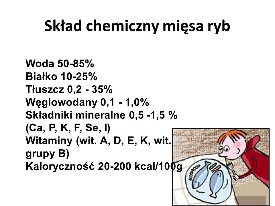 Skład chemiczny mięsa ryb Woda 50-85% Białko 10-25% Tłuszcz 0,2 - 35% Węglowodany 0,1 - 1,0% Składniki mineralne 0,5 -1,5 % (Ca, P, K, F, Se, I) Witaminy (wit.