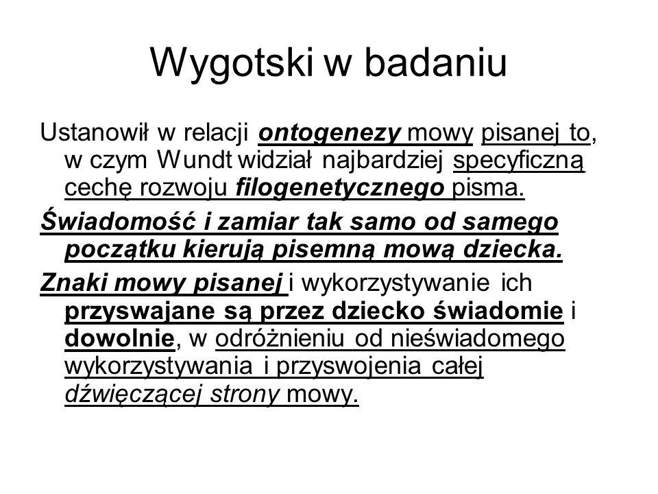 Wygotski w badaniu Ustanowił w relacji ontogenezy mowy pisanej to, w czym Wundt widział najbardziej specyficzną cechę rozwoju filogenetycznego pisma.