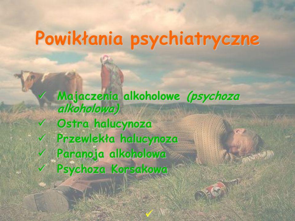 Powikłania psychiatryczne Majaczenia alkoholowe (psychoza alkoholowa) Majaczenia alkoholowe (psychoza alkoholowa) Ostra halucynoza Ostra halucynoza Przewlekła halucynoza Przewlekła halucynoza Paranoja alkoholowa Paranoja alkoholowa Psychoza Korsakowa Psychoza Korsakowa