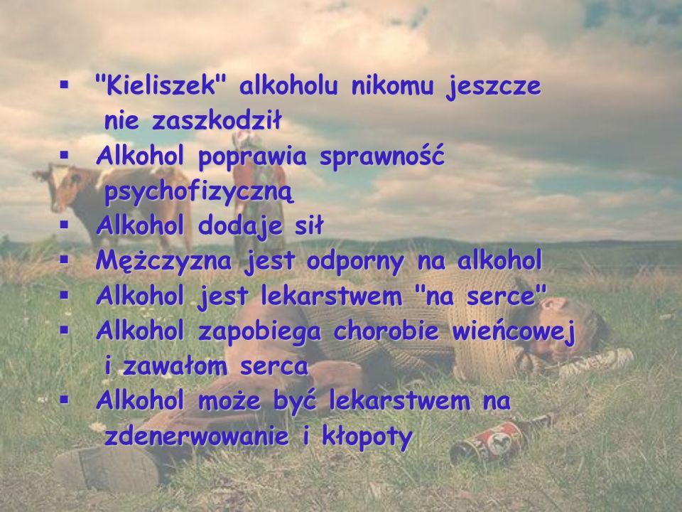  Kieliszek alkoholu nikomu jeszcze nie zaszkodził nie zaszkodził  Alkohol poprawia sprawność psychofizyczną psychofizyczną  Alkohol dodaje sił  Mężczyzna jest odporny na alkohol  Alkohol jest lekarstwem na serce  Alkohol zapobiega chorobie wieńcowej i zawałom serca i zawałom serca  Alkohol może być lekarstwem na zdenerwowanie i kłopoty zdenerwowanie i kłopoty