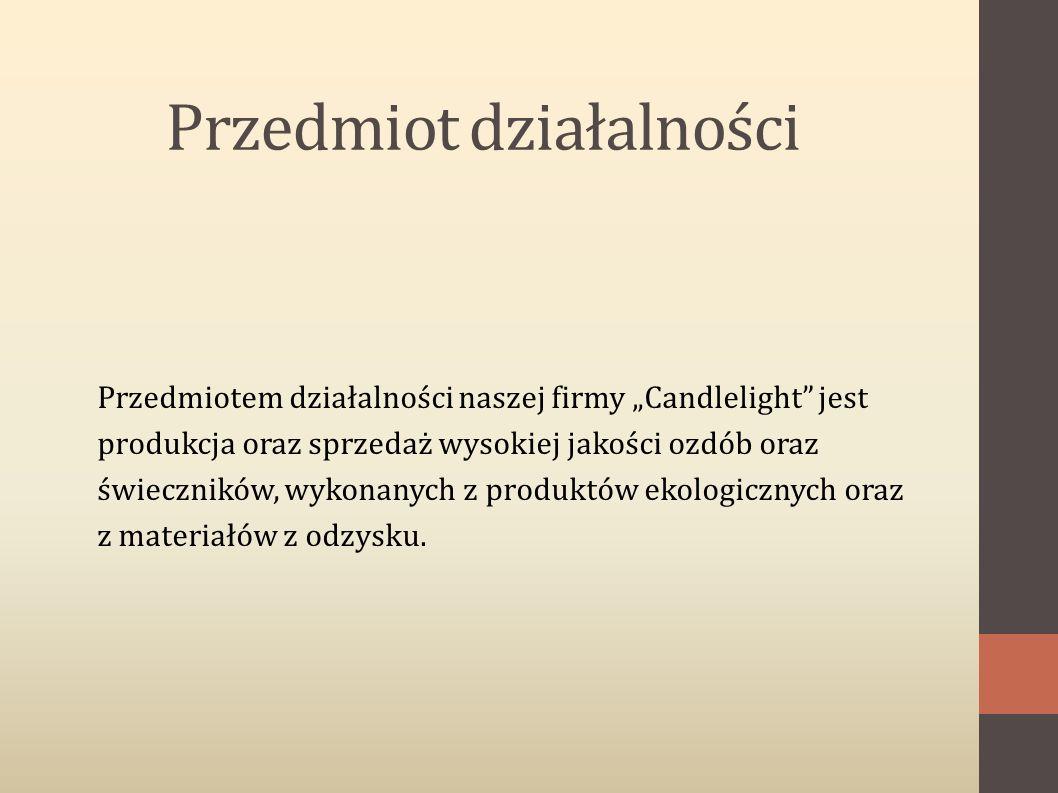 """Przedmiot działalności Przedmiotem działalności naszej firmy """"Candlelight jest produkcja oraz sprzedaż wysokiej jakości ozdób oraz świeczników, wykonanych z produktów ekologicznych oraz z materiałów z odzysku."""