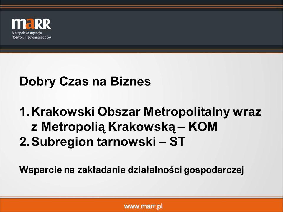 www.marr.pl Dobry Czas na Biznes 1.Krakowski Obszar Metropolitalny wraz z Metropolią Krakowską – KOM 2.Subregion tarnowski – ST Wsparcie na zakładanie