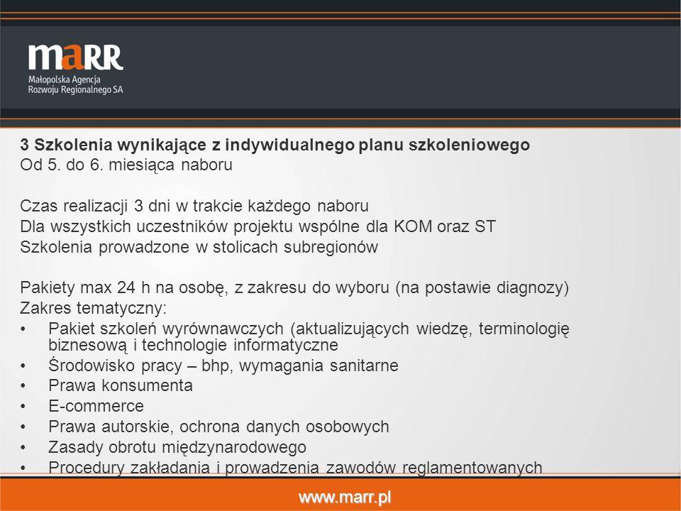 www.marr.pl 3 Szkolenia wynikające z indywidualnego planu szkoleniowego Od 5. do 6. miesiąca naboru Czas realizacji 3 dni w trakcie każdego naboru Dla