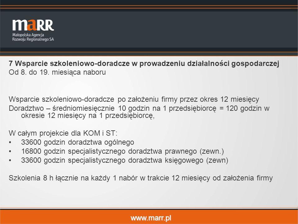 www.marr.pl 7 Wsparcie szkoleniowo-doradcze w prowadzeniu działalności gospodarczej Od 8. do 19. miesiąca naboru Wsparcie szkoleniowo-doradcze po zało