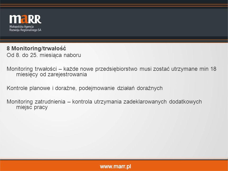 www.marr.pl 8 Monitoring/trwałość Od 8. do 25. miesiąca naboru Monitoring trwałości – każde nowe przedsiębiorstwo musi zostać utrzymane min 18 miesięc
