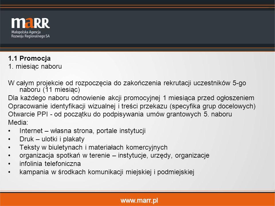 www.marr.pl 1.1Promocja 1. miesiąc naboru W całym projekcie od rozpoczęcia do zakończenia rekrutacji uczestników 5-go naboru (11 miesiąc) Dla każdego