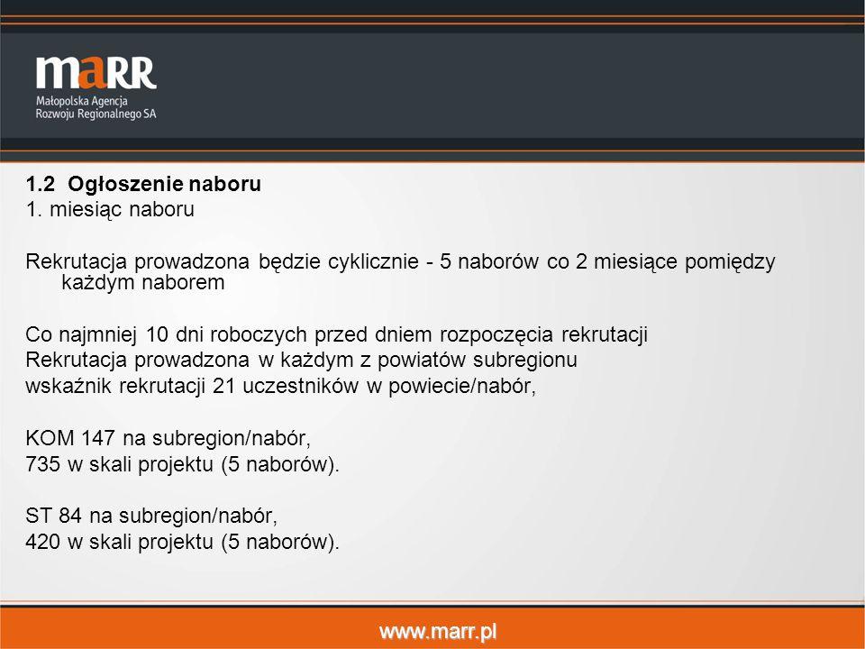 www.marr.pl 1.2 Ogłoszenie naboru 1. miesiąc naboru Rekrutacja prowadzona będzie cyklicznie - 5 naborów co 2 miesiące pomiędzy każdym naborem Co najmn