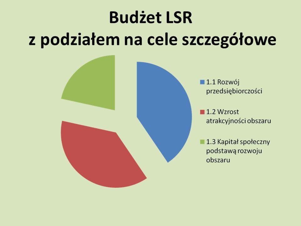 Budżet LSR z podziałem na cele szczegółowe