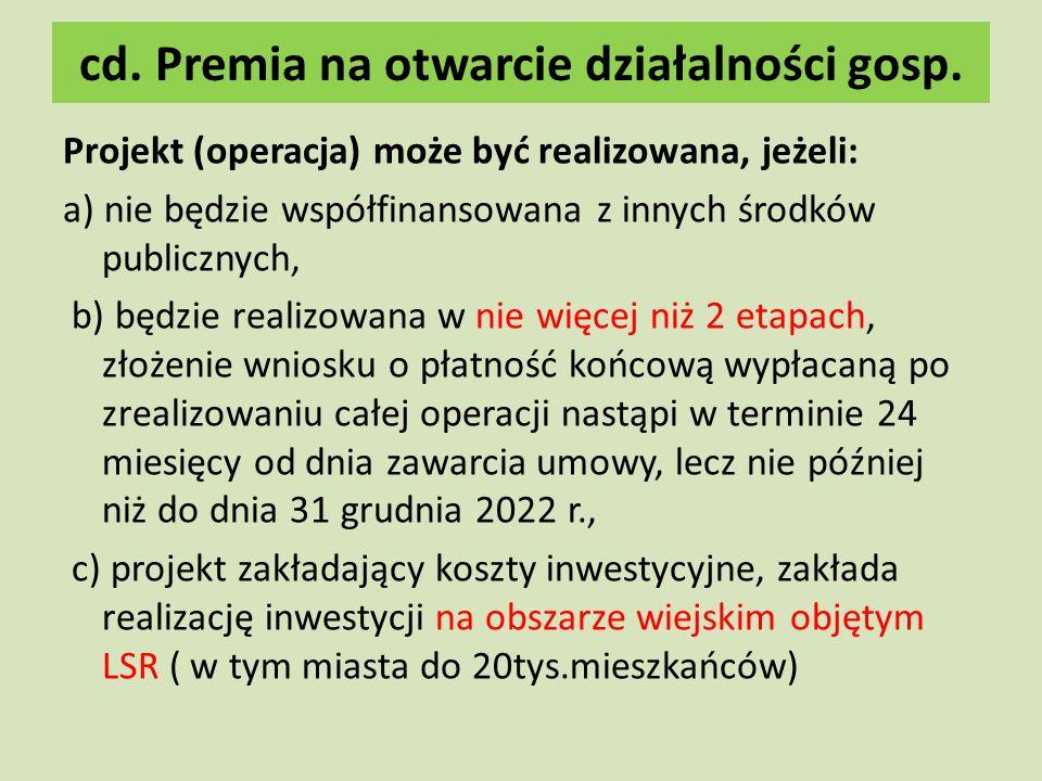 cd. Premia na otwarcie działalności gosp.