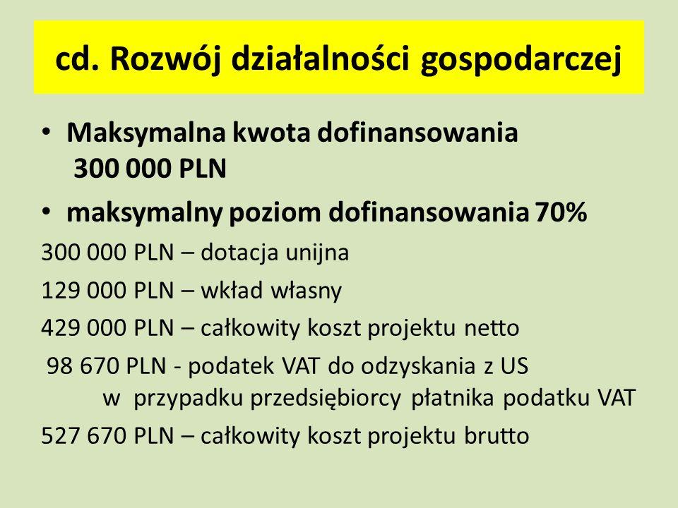 cd. Rozwój działalności gospodarczej Maksymalna kwota dofinansowania 300 000 PLN maksymalny poziom dofinansowania 70% 300 000 PLN – dotacja unijna 129
