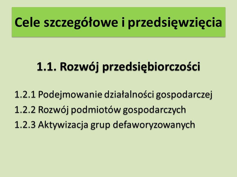Cele szczegółowe i przedsięwzięcia 1.1.