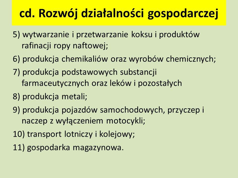 cd. Rozwój działalności gospodarczej 5) wytwarzanie i przetwarzanie koksu i produktów rafinacji ropy naftowej; 6) produkcja chemikaliów oraz wyrobów c