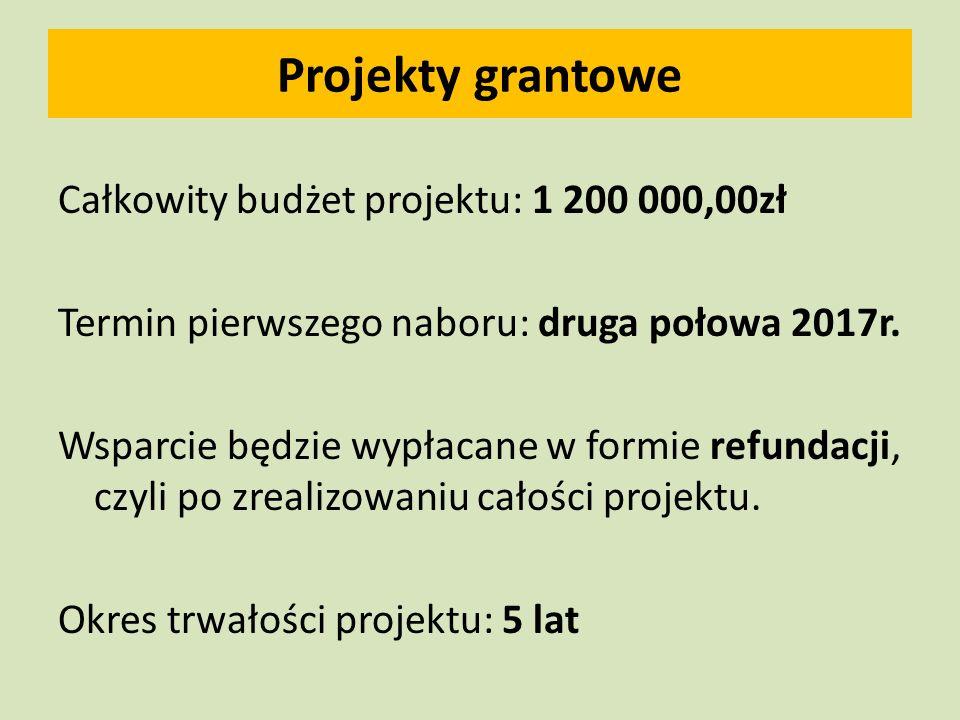 Projekty grantowe Całkowity budżet projektu: 1 200 000,00zł Termin pierwszego naboru: druga połowa 2017r.