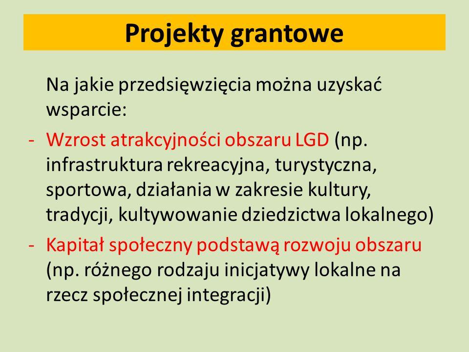 Projekty grantowe Na jakie przedsięwzięcia można uzyskać wsparcie: -Wzrost atrakcyjności obszaru LGD (np.