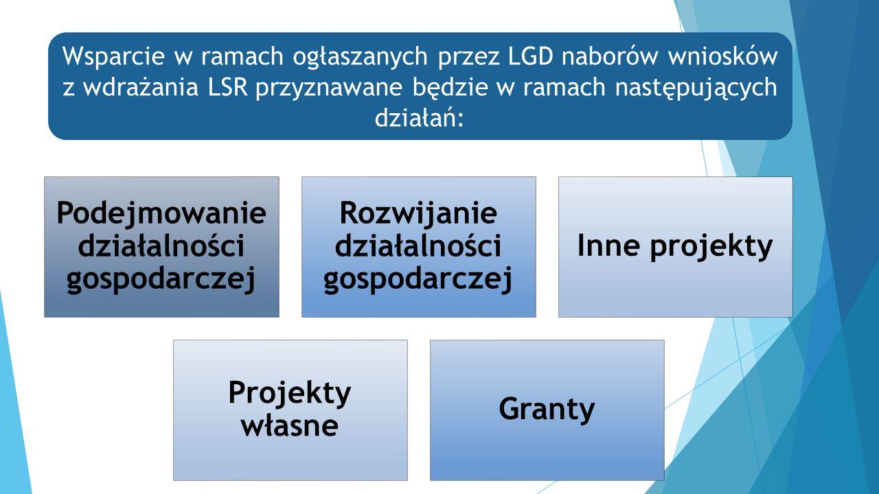 Podejmowanie działalności gospodarczej Rozwijanie działalności gospodarczej Inne projekty Projekty własne Granty Wsparcie w ramach ogłaszanych przez LGD naborów wniosków z wdrażania LSR przyznawane będzie w ramach następujących działań: