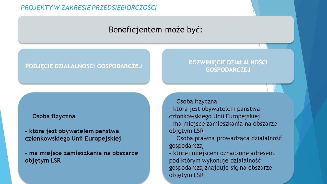 PROJEKTY W ZAKRESIE PRZEDSIĘBIORCZOŚCI Beneficjentem może być: ROZWINIĘCIE DZIAŁALNOŚCI GOSPODARCZEJ Osoba fizyczna – która jest obywatelem państwa członkowskiego Unii Europejskiej – ma miejsce zamieszkania na obszarze objętym LSR Osoba prawna prowadząca działalność gospodarczą – której miejscem oznaczone adresem, pod którym wykonuje działalność gospodarczą znajduje się na obszarze objętym LSR Osoba fizyczna – która jest obywatelem państwa członkowskiego Unii Europejskiej – ma miejsce zamieszkania na obszarze objętym LSR Osoba prawna prowadząca działalność gospodarczą – której miejscem oznaczone adresem, pod którym wykonuje działalność gospodarczą znajduje się na obszarze objętym LSR PODJĘCIE DZIAŁALNOŚCI GOSPODARCZEJ Osoba fizyczna – która jest obywatelem państwa członkowskiego Unii Europejskiej – ma miejsce zamieszkania na obszarze objętym LSR Osoba fizyczna – która jest obywatelem państwa członkowskiego Unii Europejskiej – ma miejsce zamieszkania na obszarze objętym LSR
