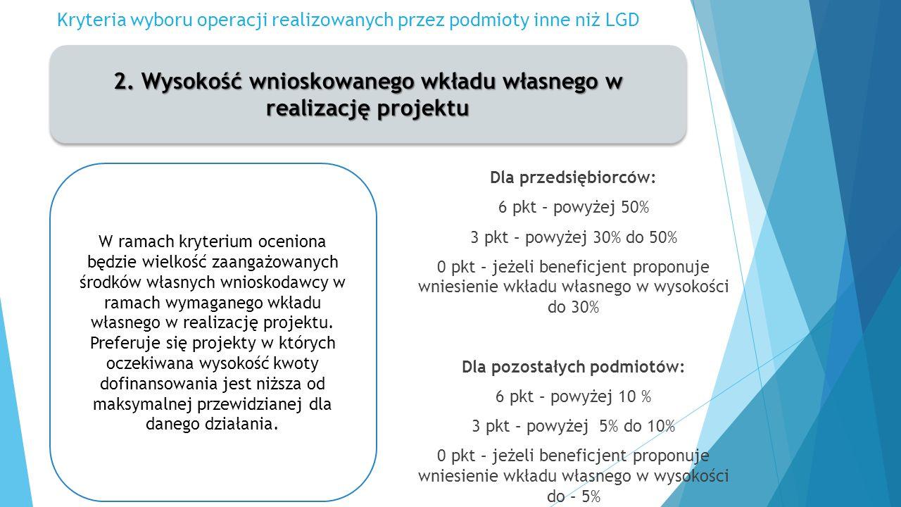 Kryteria wyboru operacji realizowanych przez podmioty inne niż LGD 2.
