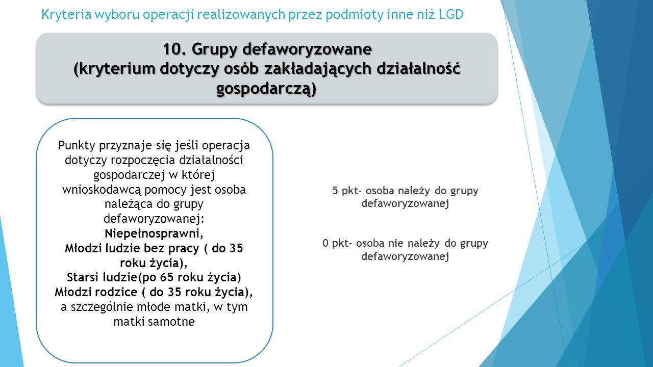 Kryteria wyboru operacji realizowanych przez podmioty inne niż LGD 10.