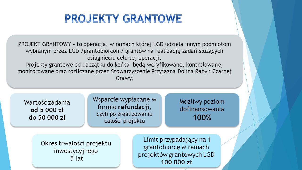 PROJEKT GRANTOWY – to operacja, w ramach której LGD udziela innym podmiotom wybranym przez LGD /grantobiorcom/ grantów na realizację zadań służących osiągnieciu celu tej operacji.