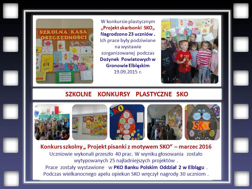 """SZKOLNE KONKURSY PLASTYCZNE SKO W konkursie plastycznym """"Projekt skarbonki SKO"""" Nagrodzono 23 uczniów."""