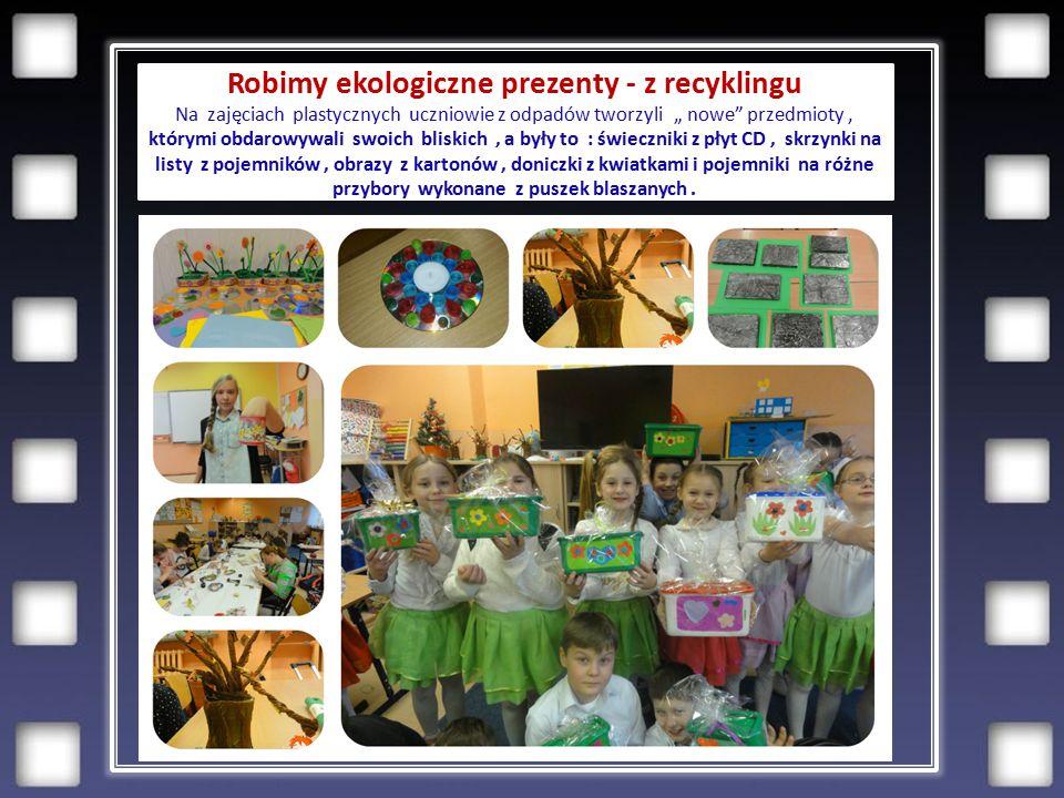 """Robimy ekologiczne prezenty - z recyklingu Na zajęciach plastycznych uczniowie z odpadów tworzyli """" nowe przedmioty, którymi obdarowywali swoich bliskich, a były to : świeczniki z płyt CD, skrzynki na listy z pojemników, obrazy z kartonów, doniczki z kwiatkami i pojemniki na różne przybory wykonane z puszek blaszanych."""