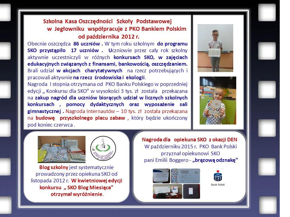 Szkolna Kasa Oszczędności Szkoły Podstawowej w Jegłowniku współpracuje z PKO Bankiem Polskim od października 2012 r.
