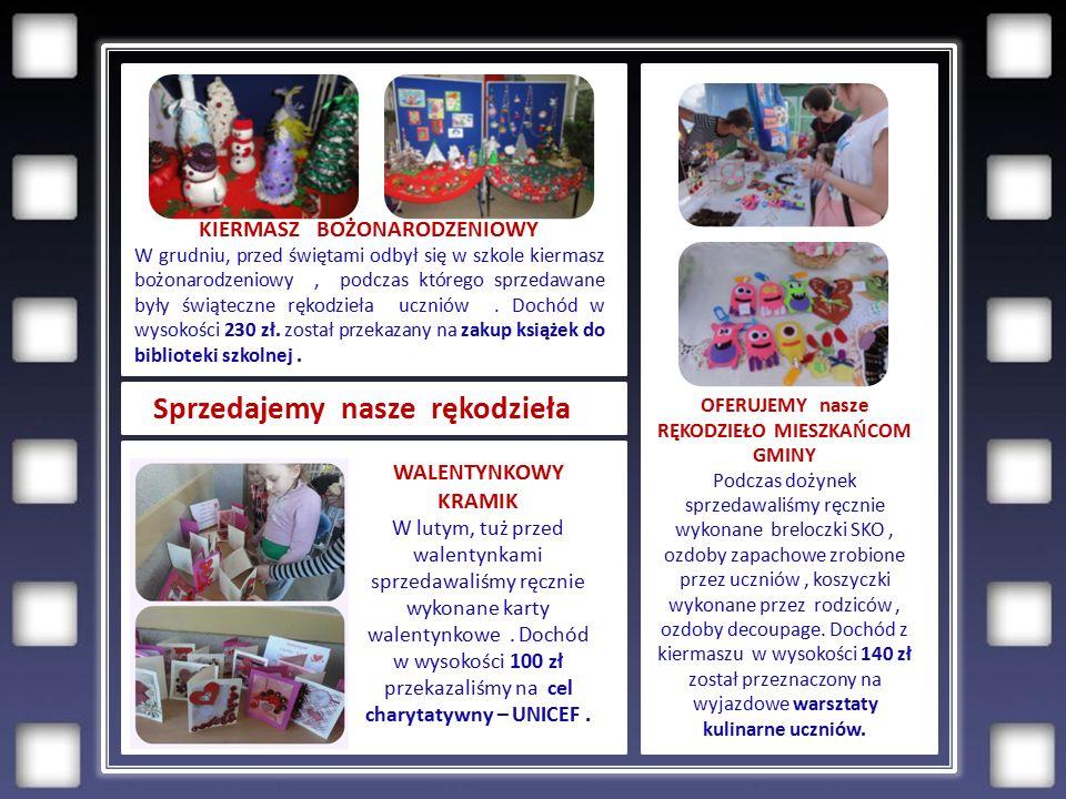 Sprzedajemy nasze rękodzieła a KIERMASZ BOŻONARODZENIOWY W grudniu, przed świętami odbył się w szkole kiermasz bożonarodzeniowy, podczas którego sprzedawane były świąteczne rękodzieła uczniów.