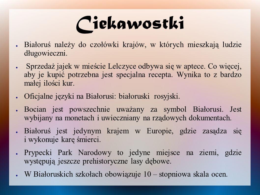 Ciekawostki ● Białoruś należy do czołówki krajów, w których mieszkają ludzie długowieczni. ● Sprzedaż jajek w mieście Lelczyce odbywa się w aptece. Co