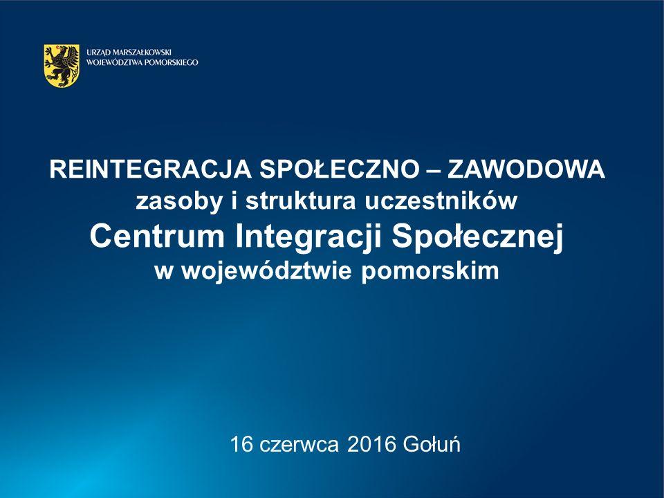 REINTEGRACJA SPOŁECZNO – ZAWODOWA zasoby i struktura uczestników Centrum Integracji Społecznej w województwie pomorskim 16 czerwca 2016 Gołuń