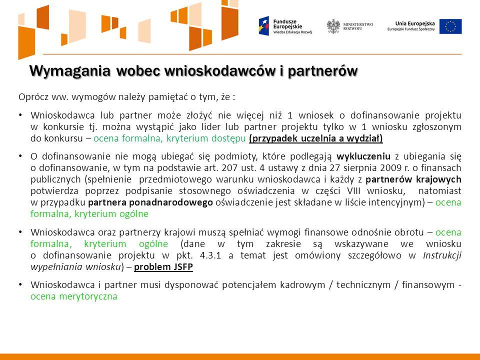 Wymagania wobec wnioskodawców i partnerów Oprócz ww.