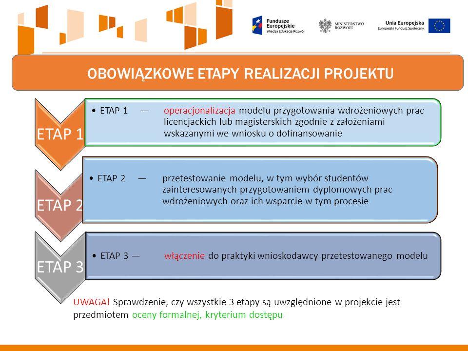 OBOWIĄZKOWE ETAPY REALIZACJI PROJEKTU ETAP 1 ETAP 1 — operacjonalizacja modelu przygotowania wdrożeniowych prac licencjackich lub magisterskich zgodnie z założeniami wskazanymi we wniosku o dofinansowanie ETAP 2 ETAP 2 — przetestowanie modelu, w tym wybór studentów zainteresowanych przygotowaniem dyplomowych prac wdrożeniowych oraz ich wsparcie w tym procesie ETAP 3 ETAP 3 — włączenie do praktyki wnioskodawcy przetestowanego modelu UWAGA.
