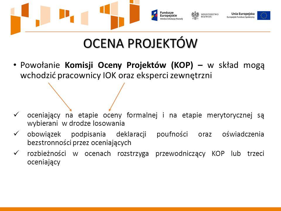 Powołanie Komisji Oceny Projektów (KOP) – w skład mogą wchodzić pracownicy IOK oraz eksperci zewnętrzni oceniający na etapie oceny formalnej i na etapie merytorycznej są wybierani w drodze losowania obowiązek podpisania deklaracji poufności oraz oświadczenia bezstronności przez oceniających rozbieżności w ocenach rozstrzyga przewodniczący KOP lub trzeci oceniający OCENA PROJEKTÓW