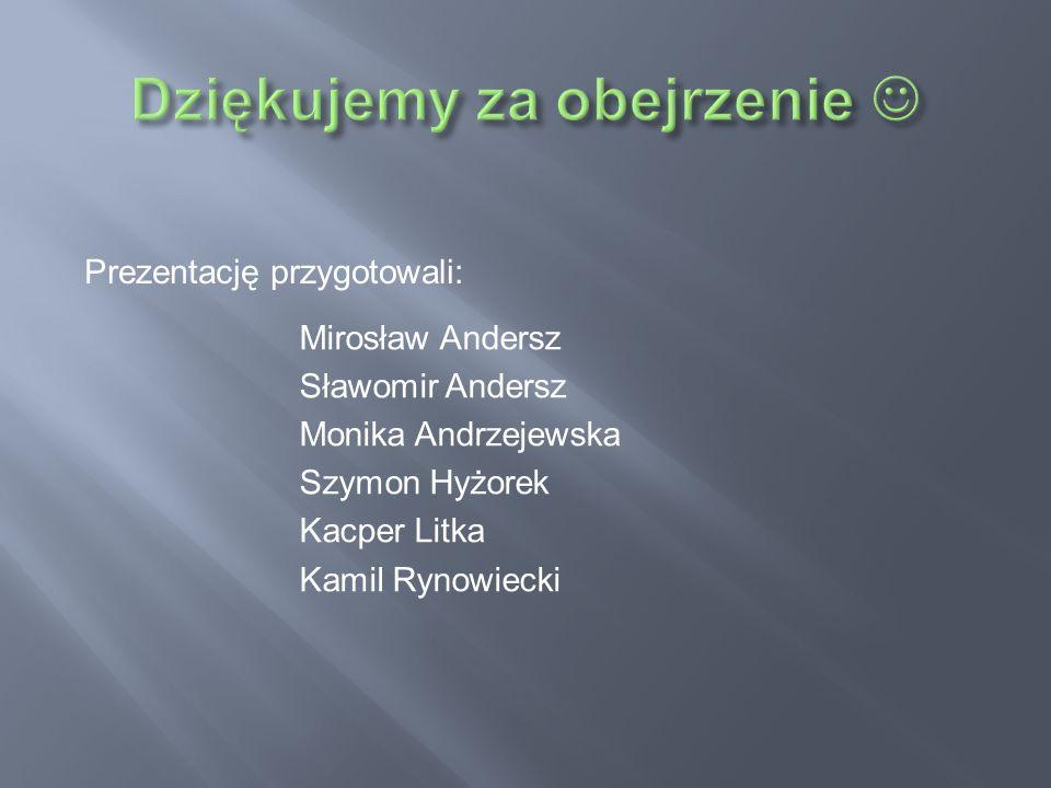 Prezentację przygotowali: Mirosław Andersz Sławomir Andersz Monika Andrzejewska Szymon Hyżorek Kacper Litka Kamil Rynowiecki