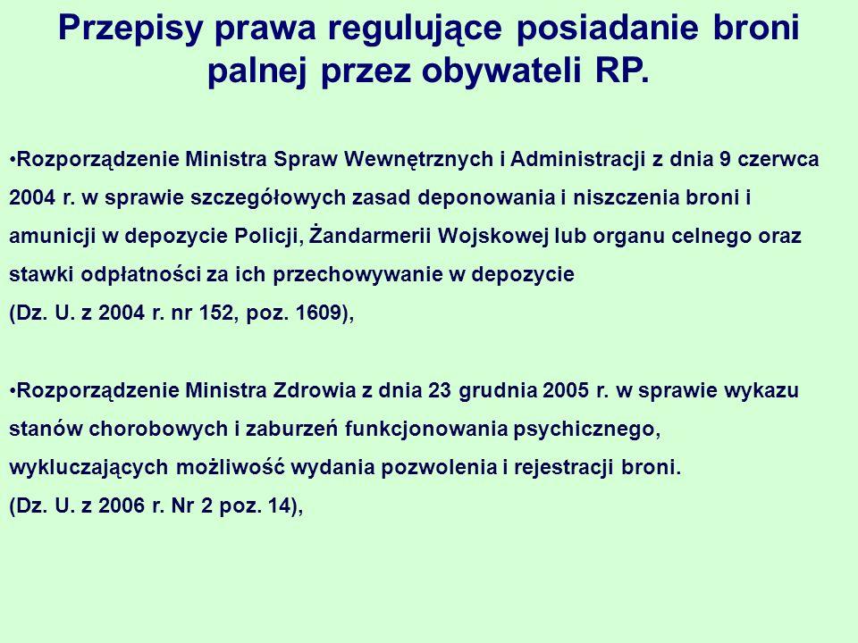 Ustawa o Broni i amunicji Ustawa określa zasady wydawania i cofania pozwoleń na broń, nabywania, rejestracji, przechowywania, zbywania i deponowania broni i amunicji, przewozu przez terytorium Rzeczypospolitej Polskiej oraz przywozu z zagranicy i wywozu za granicę broni i amunicji, jak również zasady posiadania broni i amunicji przez cudzoziemców oraz zasady funkcjonowania strzelnic.